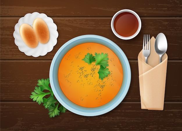 Ilustración de sopa de calabaza con perejil en un tazón