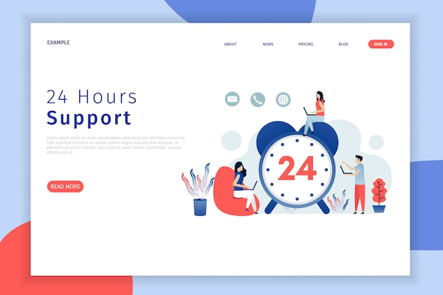 Ilustración de soporte las 24 horas para la página de destino