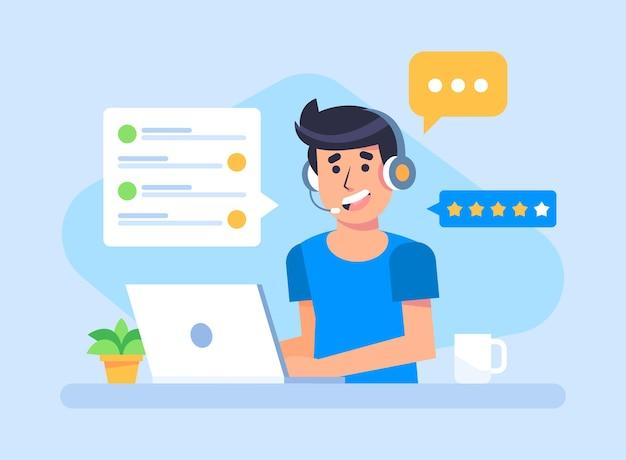 Ilustración de soporte al cliente
