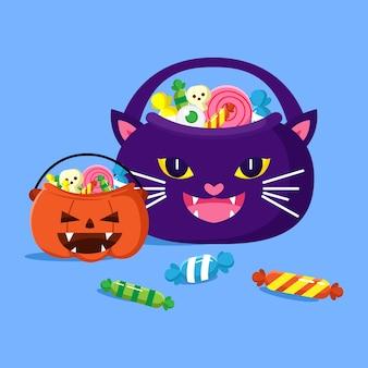 Ilustración del soporte de caramelos en forma de gato perfecto para la fiesta de halloween