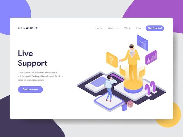 Ilustración de soporte en vivo para páginas web