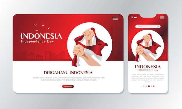 Ilustración sosteniendo la bandera nacional de indonesia con una pantalla de visualización