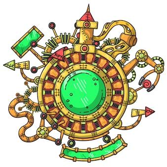 Ilustración steampunk con elementos técnicos.