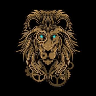Ilustración de steampunk de león