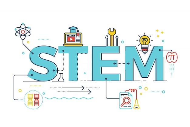 Ilustración de stem - ciencia, tecnología, ingeniería, matemáticas.