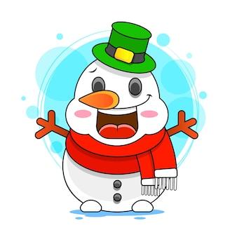Ilustración de stock de impresión de hombre de nieve sobre un fondo blanco.