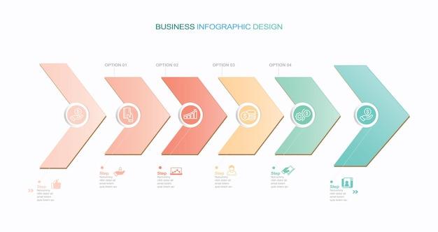 Ilustración de stock de plantilla de infografía vectorial moderna pasos de infografía que fluye organización ico