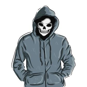 Ilustración de sudadera con capucha de cráneo