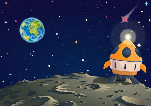 Ilustración de suelo lunar con cohete y vista de la tierra.