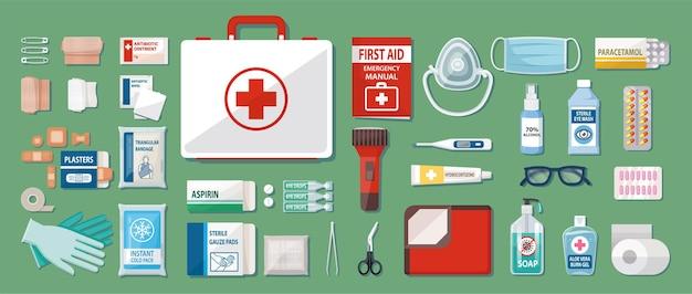 Ilustración de suministros y contenido de la caja del botiquín de primeros auxilios