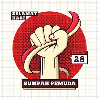 Ilustración de sumpah pemuda con puño