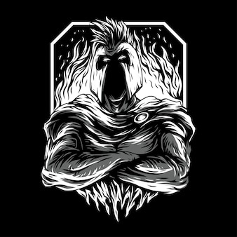 Ilustración super espartana remasterizada en blanco y negro