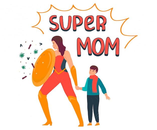 Ilustración de super mamá, personaje de madre de dibujos animados en traje de superhéroe que protege al niño del virus, coronavirus en blanco