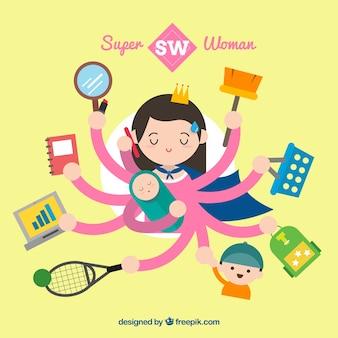 Ilustración de super mujer multitarea