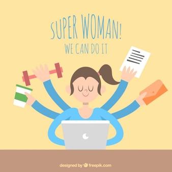 Ilustración de super mujer