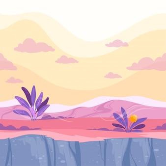 Ilustración de superficie de planeta de dibujos animados