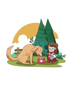 Ilustración de superhéroe niño alimentando perro callejero