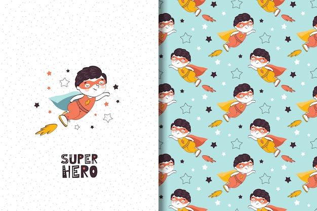 Ilustración de superhéroe de niño de dibujos animados y patrones sin fisuras.