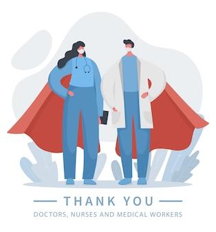 Ilustración de superhéroes médico y enfermera