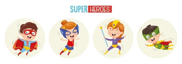 Ilustración de superhéroes