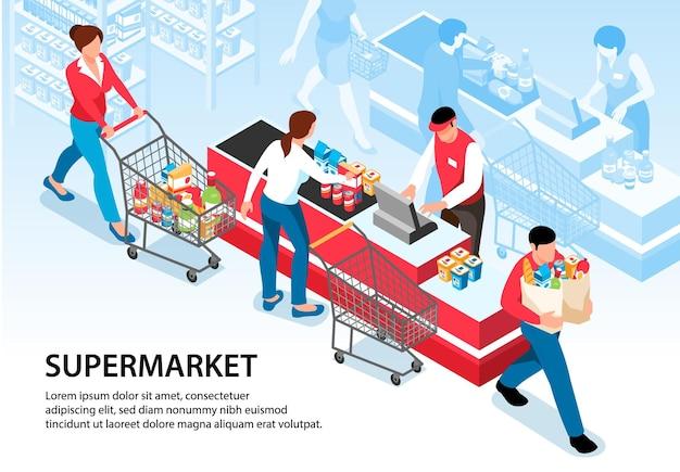 Ilustración de supermercado con compradores que conducen carritos con comestibles a la caja