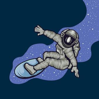 Ilustración de surf de astronautas