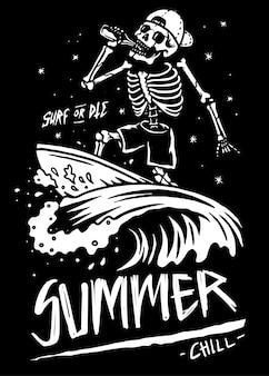 Ilustración de surf de calavera esqueleto de verano