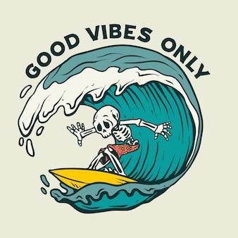 Ilustración de surf de calavera