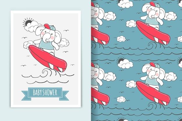 Ilustración de surf de elefante y patrón transparente