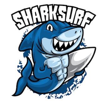 Ilustración de surf de tiburón