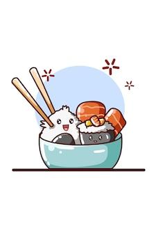 Ilustración de sushi y carnes