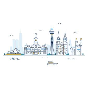 Ilustración de sydney skyline.