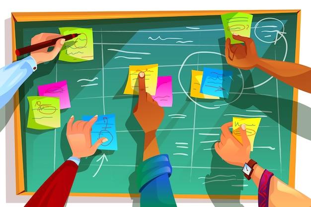 Ilustración de la tabla kanban para la gestión ágil de scrum y la metodología del proceso de trabajo en equipo.