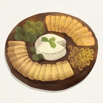 Ilustración de tabla de quesos en acuarela con acompañamientos