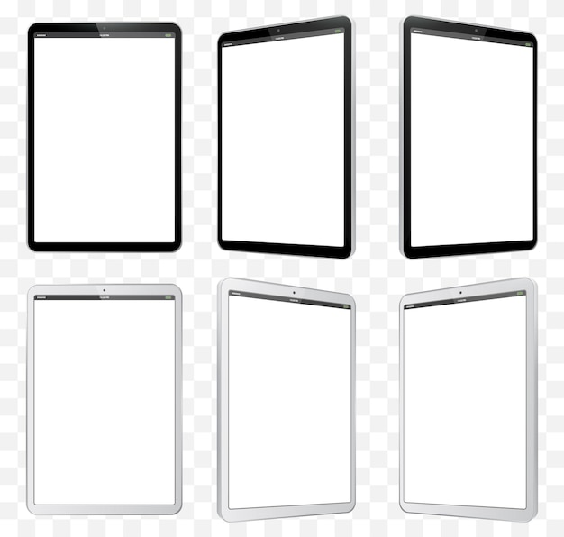 Ilustración de tableta en blanco y negro. vista en perspectiva de tablet pc con pantalla en blanco y fondo transparente.