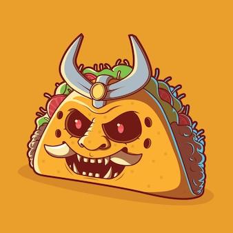 Ilustración de taco samurai. comida rápida, entrega, concepto de diseño divertido.