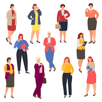 Ilustración de tallas grandes de mujer de negocios, conjunto de empresaria con sobrepeso con curvas de empresarios gordos aislado sobre fondo blanco