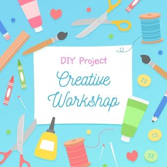 Ilustración de taller creativo de bricolaje