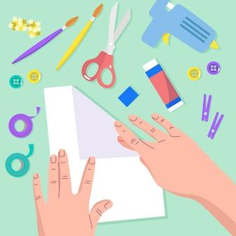 Ilustración de taller creativo diy de diseño plano