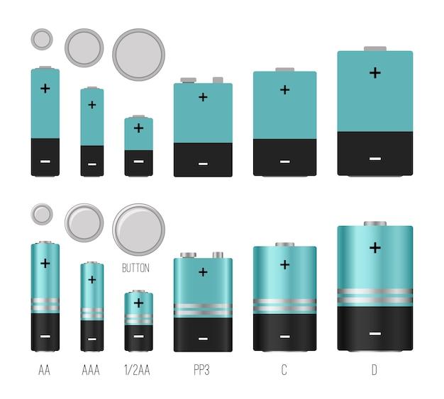 Ilustración del tamaño de la batería. tamaños de baterías vector imagen aislada, estilos de baterías, diferentes objetos industriales electrónicos de baterías, componentes eléctricos químicos de litio