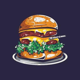 Ilustración del tanque de hamburguesas