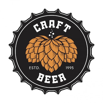 Ilustración de la tapa de la botella de cerveza artesanal con lúpulo