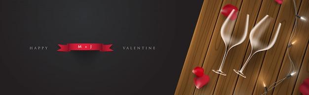 Ilustración de tarjeta de banner de día de san valentín de noche romántica 3d