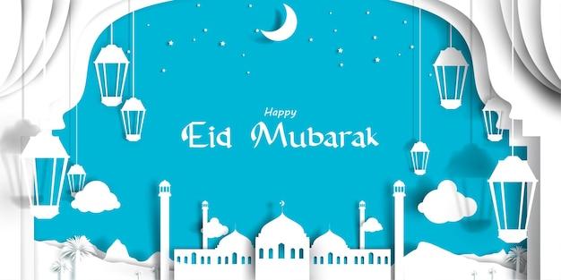 Ilustración de tarjeta de felicitación de eid mubarak con estilo de corte de papel con hermosa mezquita en medio oriente