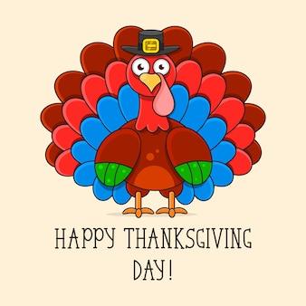 Ilustración de la tarjeta de felicitación feliz de la acción de gracias turquía