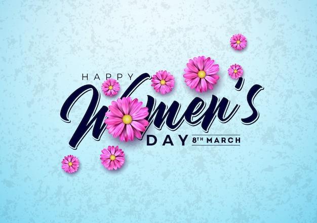 Ilustración de tarjeta de felicitación floral del día de la mujer con flor