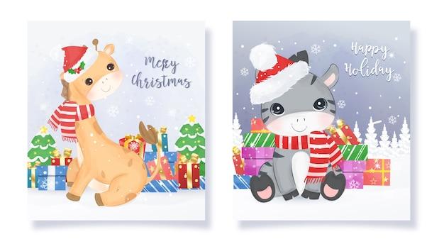 Ilustración de tarjeta de felicitación de navidad con animales lindos
