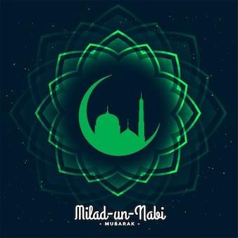 Ilustración de la tarjeta del festival eid milad un nabi