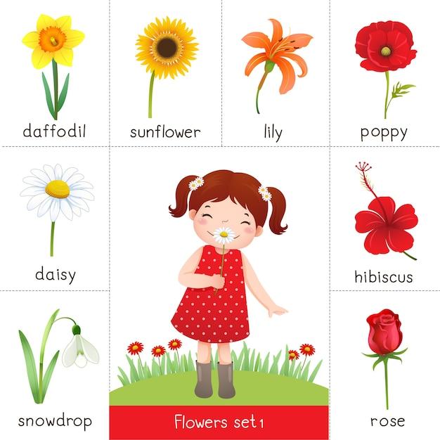 Ilustración de una tarjeta flash imprimible para flores y una niña que huele a flor