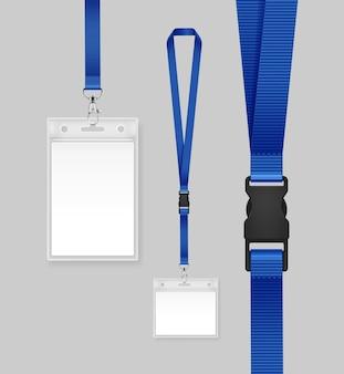 Ilustración de tarjeta de identificación con cinta azul.